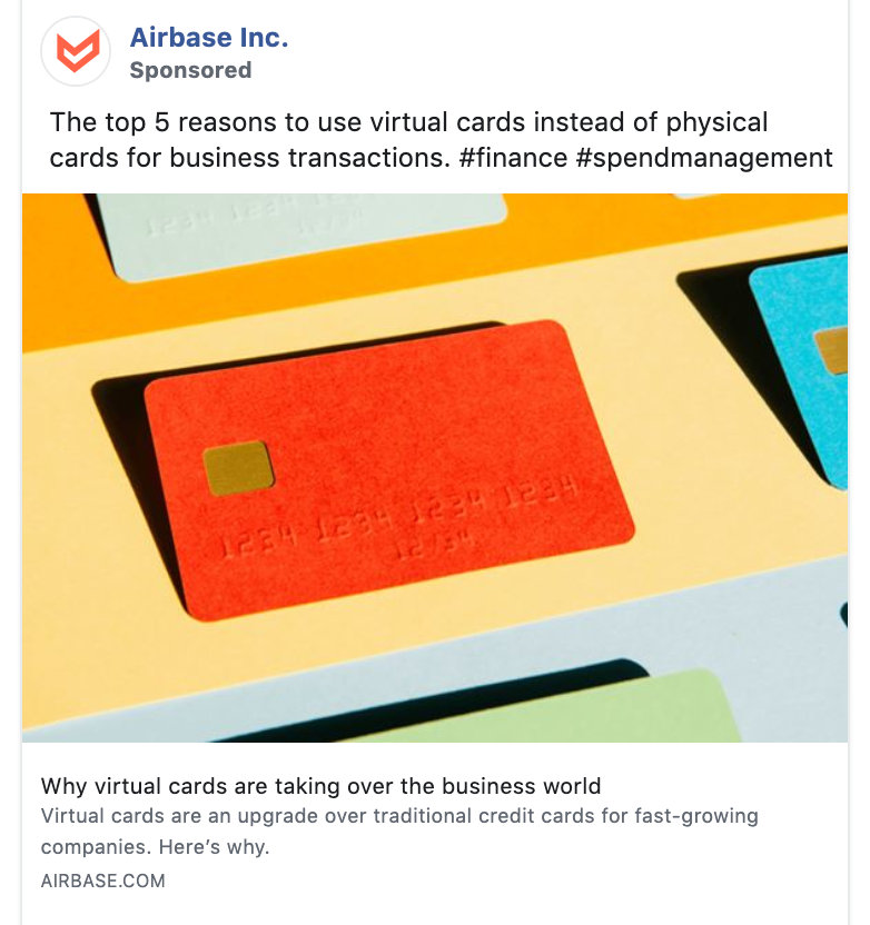 B2B ad on Facebook