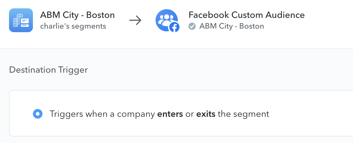 setup for sending one of Lattice's audiences to Facebook Custom Audience