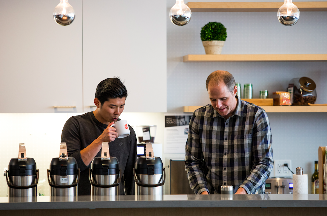 Zenefits team members caffeinating